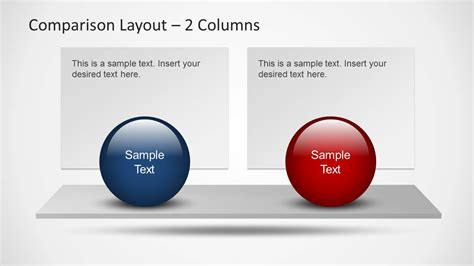 comparison powerpoint template comparison layouts for powerpoint with spheres slidemodel