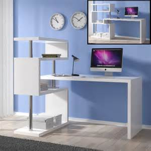 Computer Desk And Shelving Unit Miami Computer Desk Rotating In White Gloss With Shelving