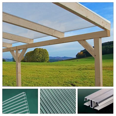 Patio Roof Sheeting Solid Wood Canopy Set Roof Polycarbonate Sheet Garden