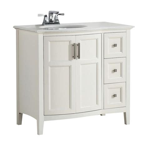 Home Depot Bathroom Vanity Sink Tops Simpli Home Winston Rounded Front 36 In W Vanity In Soft White With Quartz Marble Vanity Top In