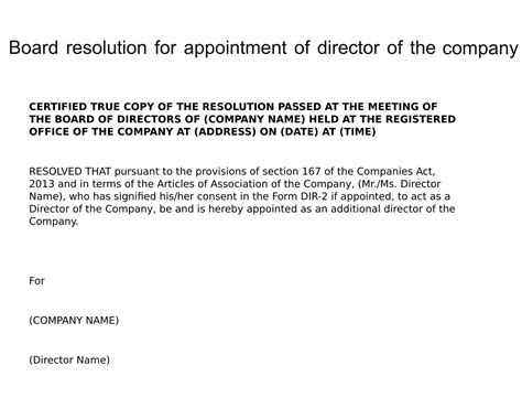 Board Resolution For Appointment Of Director Of The Company Board Resolution Appointing New Director Template