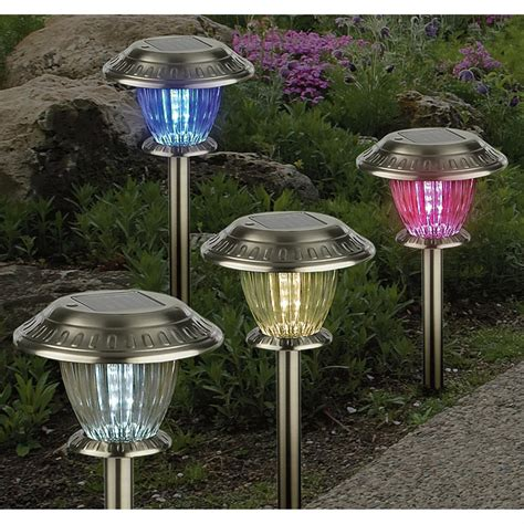 Solar Lights Patio 12 Pc Color Changing Solar Lights Set 164812 Solar Outdoor Lighting At Sportsman S Guide