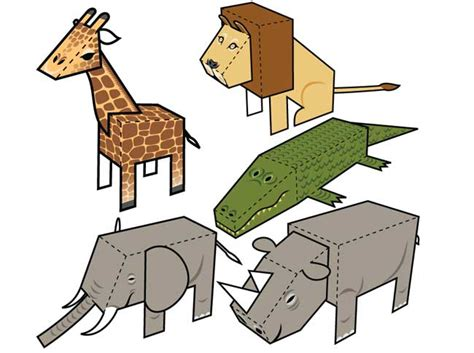 Animal Papercraft - 5 simple animal paper toys free templates
