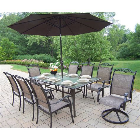 Sling Patio Dining Set Shop Oakland Living 10 Cascade Sling Sling Cast Aluminum Patio Dining Set At Lowes