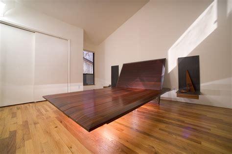 Floating Bedroom End Tables Bed Floating Steel Padauk Wood End Tables Floating