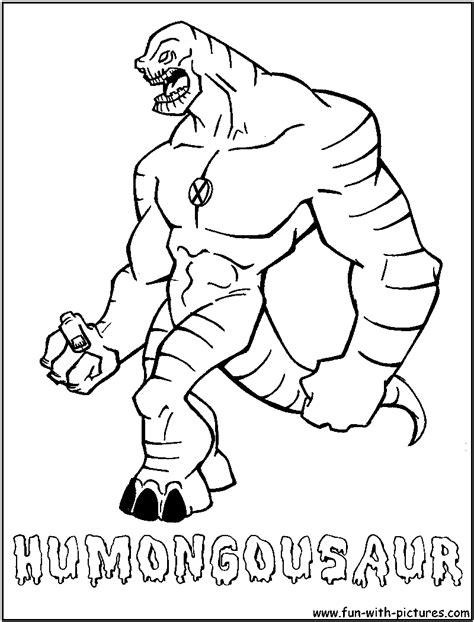 cartoon network coloring pages games humongosaur from ben10 alien force cartoon network