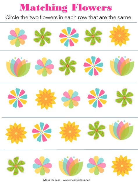 printable preschool flowers free spring preschool worksheets mess for less