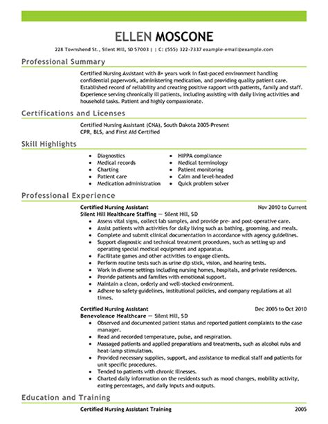 Nursing Aide Resume Writing Certified Nursing Assistant Resume Objective Exles Certified Nursing Assistant Resume Exle