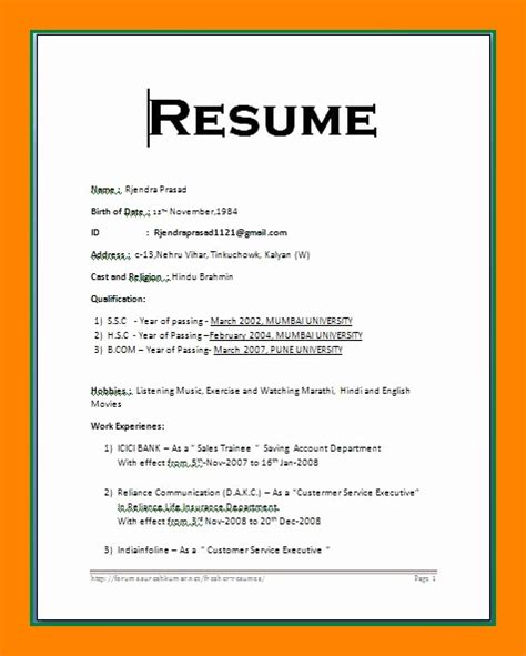 Marriage Biodata Doc Word Format Resume by Resume Format On Word Resume Template Easy Http Www