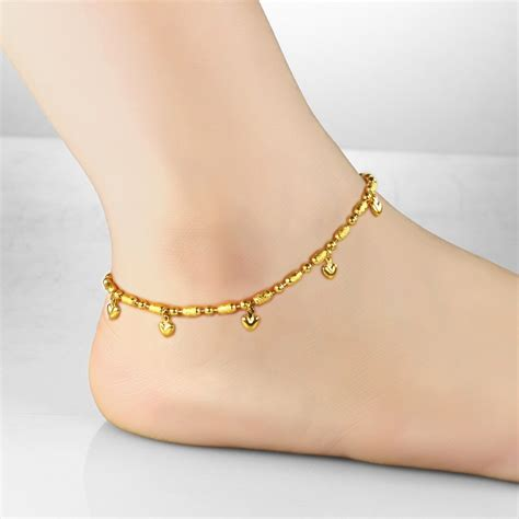 Aliexpress.com : Buy Korean Fashion 18K Real Gold Plated Anklet Heart   Bell Pendant Ankle