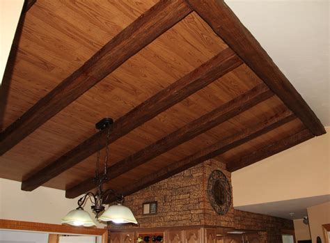 faux wood ceiling dining room design with beams faux wood workshop