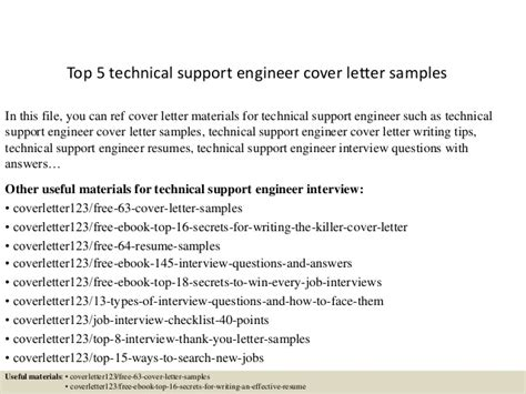technical support engineer cover letter top 5 technical support engineer cover letter sles