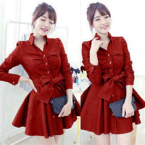 Dress Bahan Balotelly Model Pita Depan Cantik baju mini dress pita cantik model terbaru murah
