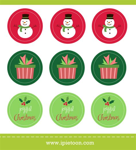 printable christmas stickers free christmas sticker and cupcake topper printable