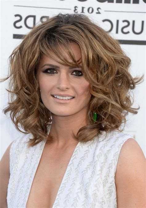 25 short curly hair with bangs shoulder length curly pictures medium hairstyles with bangs for thick hair