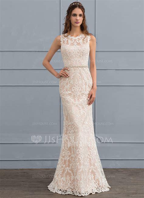 Floor Length Wedding Dress by Sheath Column Scoop Neck Floor Length Lace Wedding Dress
