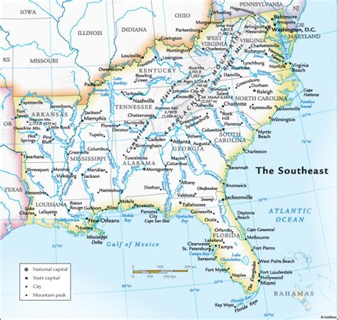 southeast map southeast map of usa images