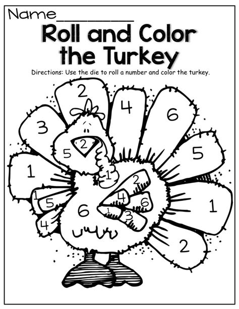 printable turkey eyes roll a die and color the turkey this could work with