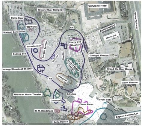 theme park usa map the outline of opryland u s a compared to now the