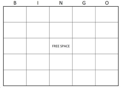 Printable Bingo Card Template by Free Bingo Card Template Large Printable Blank Bingo