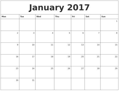 Monday Calendar 2017 January 2017 Calendar Monday Start
