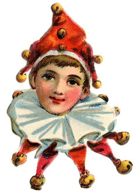 vintage images cute elf clowns  graphics fairy