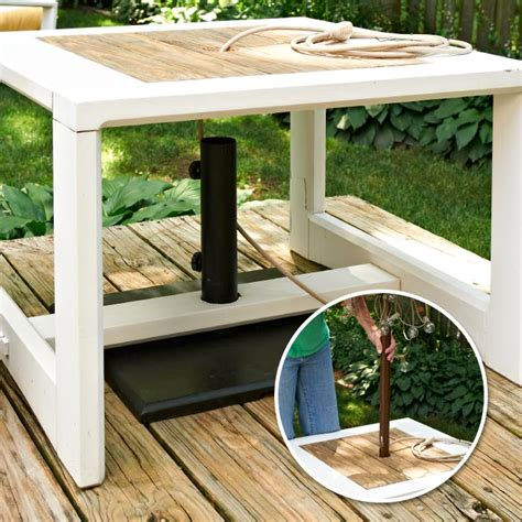 Diy Patio Umbrella Stand Make A Side Table Umbrella Stand My Home My Style