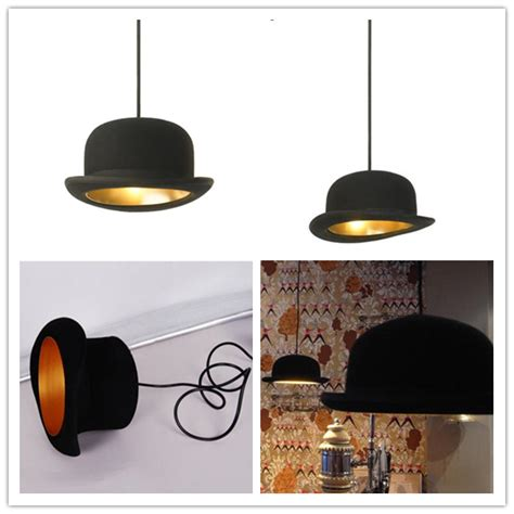 Ceiling Top Hat by Modern Black Wool Flt Top Hat Bowler Jeeves Pendant Light