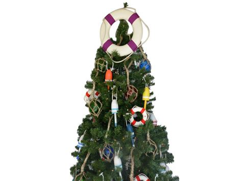 buy white lifering with purple bands christmas tree topper