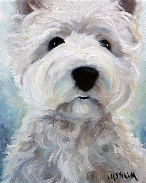 puppy painting sparrow westie west highland white terrier