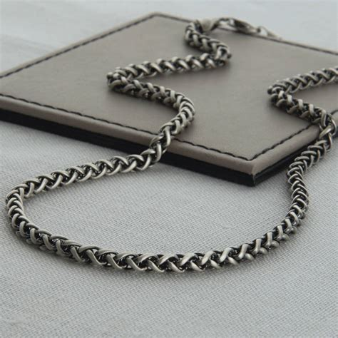 heavy sterling silver detailed chain necklace by