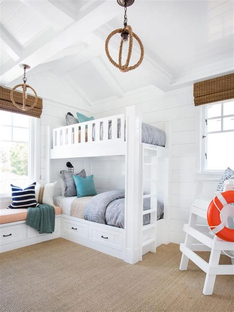 Coastal Bunk Beds Coastal Bedroom With Bunk Beds Lifeguard Chair White Shiplap Bunk Bed And Rooms
