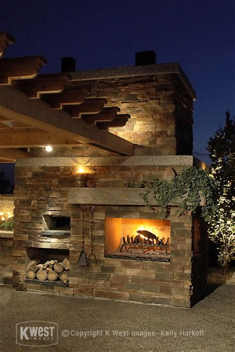 outdoor fireplace with pizza oven spaces traditional with