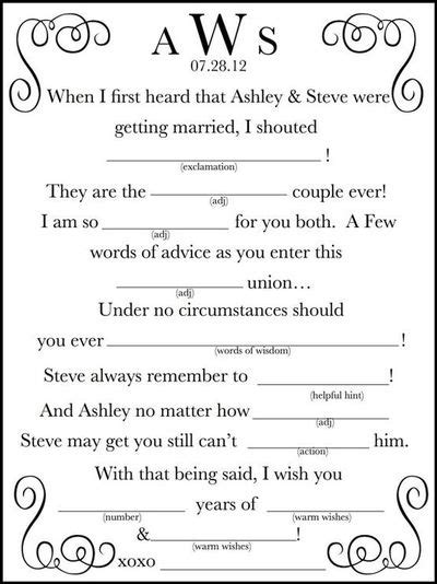 mad libs for wedding guests printable wedding mad lib a guest book by