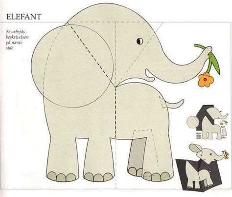 elephant pop up card template molde tarjeta karten pop up aufsteller pop