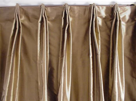 how to make french pleat drapes thai silk pleated draperies in two tone solid gold and