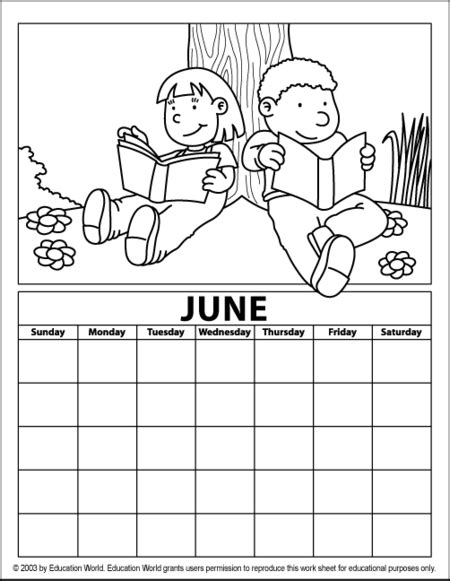 june color free coloring pages of blank calender