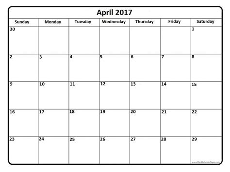 printable calendar pages april 2017 calendar april 2017 calendar printable