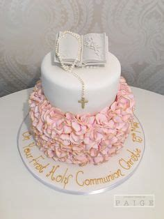 pink ruffle communion  tier designer cakes  paige