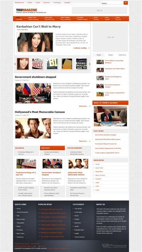 Joomla Newspaper Template by Youmagazine News Joomla Template