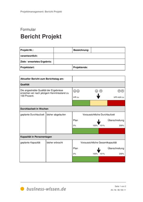 bericht projekt formular business wissende