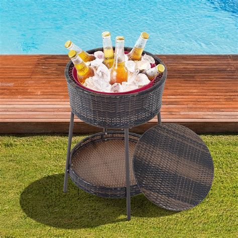 hot sale beverage drinking can storage box useful kitchen outsunny 2 tiers round rattan wicker ice cooler bucket set