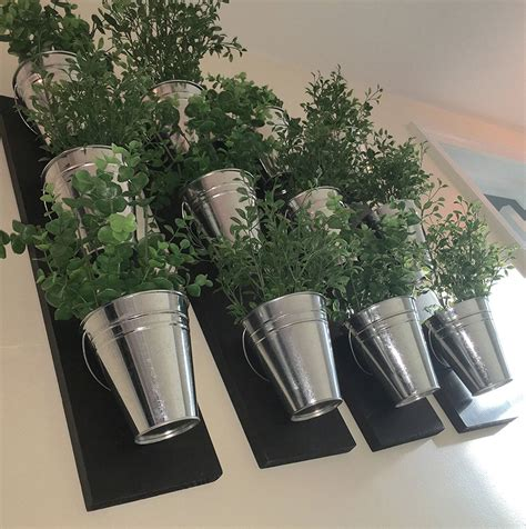 Vertical Indoor Wall Planter With Galvanized Steel Pots Galvanized Wall Planter