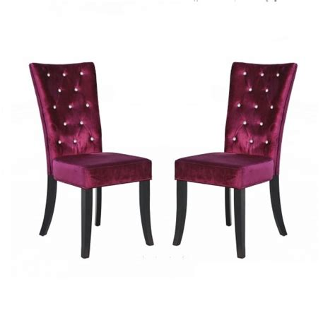 Purple Velvet Dining Chairs Belfast Dining Chair In Crushed Purple Velvet In A Pair