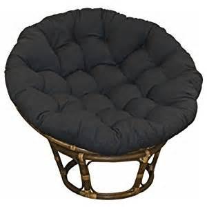Large black 44 inch twill papasan round lounge chair seat cushion