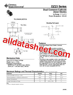 datasheet dioda zener dz23 b4v3 데이터시트 pdf general semiconductor