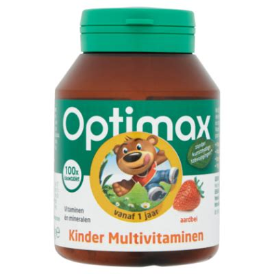 Optimax Multivitamin Tablet optimax kinder multivitaminen 100 kauwtabletten vanaf 1 jaar aardbei 100g product en prijs