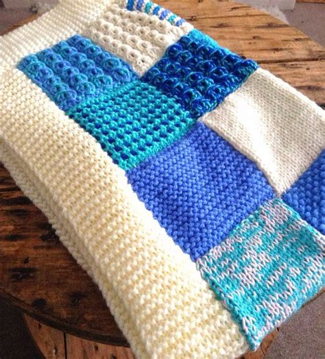 Patchwork Quilt Knitting Pattern - knitted patchwork blanket blue baby blanket