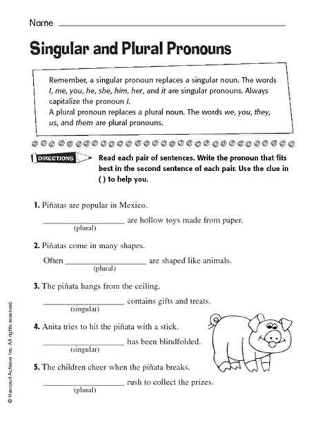 singular plural pronouns worksheets third grade planets worksheet pics about space