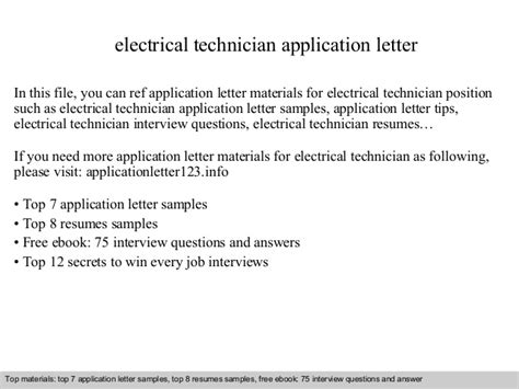 application letter for electrician technician application letter sle technologist 28 images